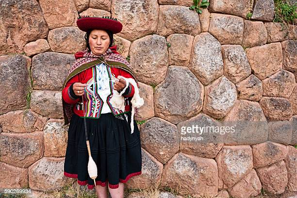 Peruvian woman spinning wool, The Sacred Valley, Chinchero