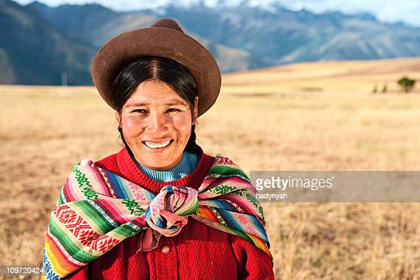 Peruvian woman wearing national clothing, The Sacred Valley, Cuz
