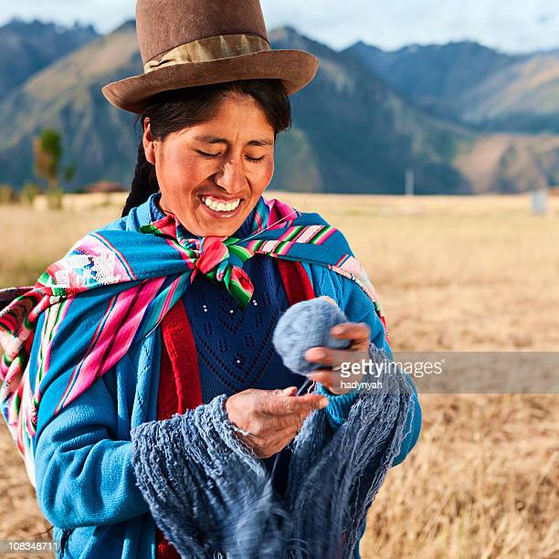 peruvian woman wearing national clothing, the sacred valley - quechua people stock pictures, royalty-free photos & images