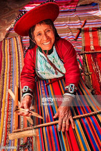 Peruvian woman weaving in The Sacred Valley, Chinchero