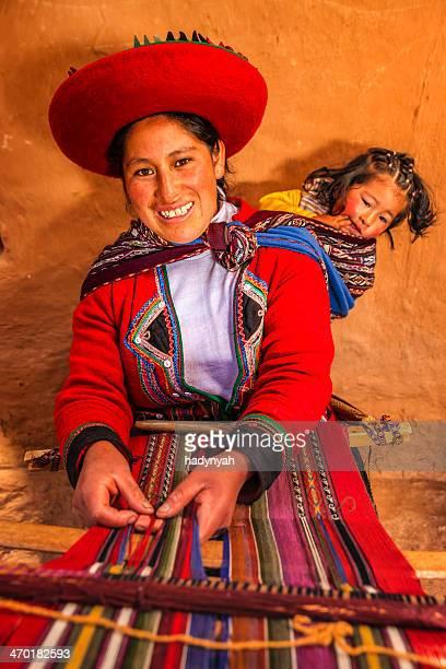 Femme péruvien tissage, la Vallée sacrée, Chinchero