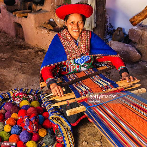peruvian woman weaving, the sacred valley, chinchero - peru stock pictures, royalty-free photos & images