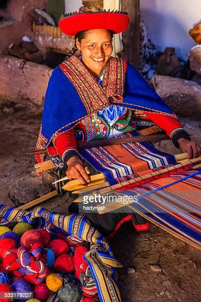Peruvian woman weaving, The Sacred Valley, Chinchero