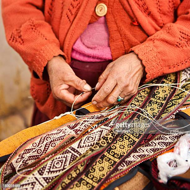 Peruvian woman weaving, The Sacred Valley, Pisac