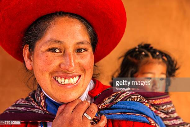 peruvian woman with her baby, the sacred valley, chinchero - quechua people stock pictures, royalty-free photos & images