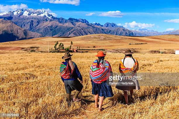 peruvian women crossing field, andes on background - provinz cusco stock-fotos und bilder
