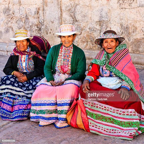 Peruvian women in national clothing, Chivay, Peru