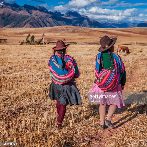 peruvian women in national clothing crossing field, the sacred valley - quechua people stock pictures, royalty-free photos & images