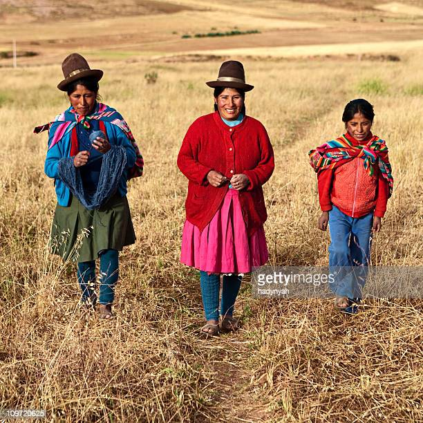 peruvian women in national clothing, the sacred valley, peru - indigenous peoples of south america stock pictures, royalty-free photos & images