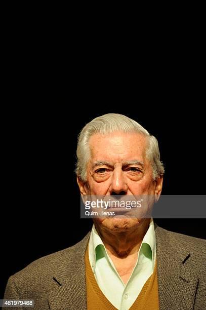 Peruvian writer and 2010 Nobel laureate Mario Vargas Llosa attends the press conference for his play 'Los Cuentos de la Peste' at Espanol Theatre on...