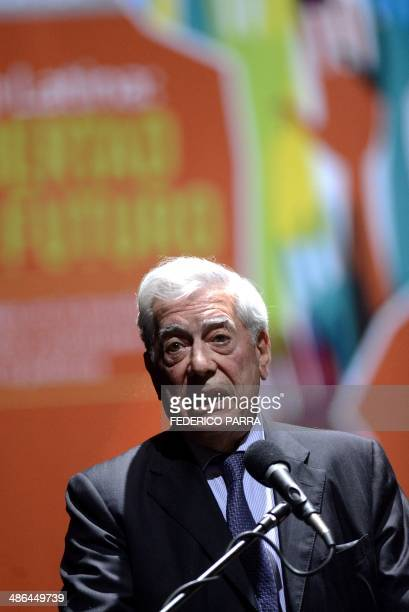 Peruvian writer and Nobel Prize 2010 in Literature Mario Vargas Llosa speaks on April 23 2014 during the opening of the international conference...