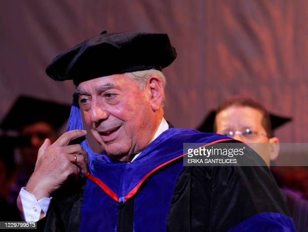 Peruvian writer and Nobel Prize for Literature 2010 winner Mario Vargas Llosa smiles during the ceremony where he was given the Honoris Causa degree...