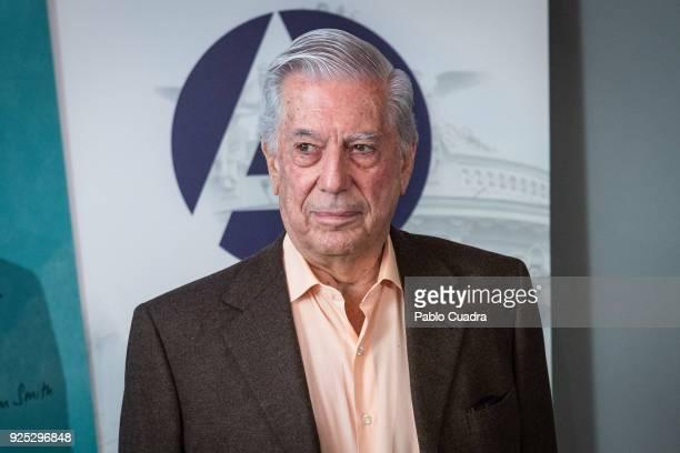 Peruvian writer and Nobel prize winner for literature Mario Vargas Llosa presents his book 'La llamada de la tribu' on February 27 2018 in Madrid...