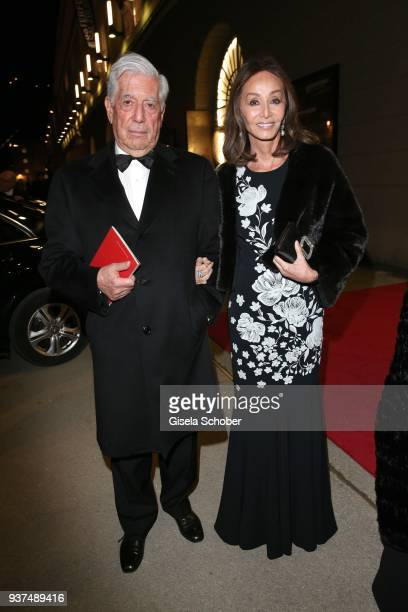 Peruvian writer and Nobel Prize winner Mario Vargas Llosa and his partner Isabel Preysler during the Easter Opera Festival opening premiere of...