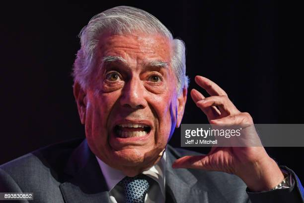 Peruvian writer Mario Vargas Llosa addresses a rally ahead of the forthcoming Catalan parliamentary election on December 16 2017 in Barcelona Spain...