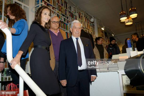 Peruvian writer Mario Vargas Llosa and his partner Spanish socialite Isabel Preysler during the presentaiton of the book 'Encounters with Mario...