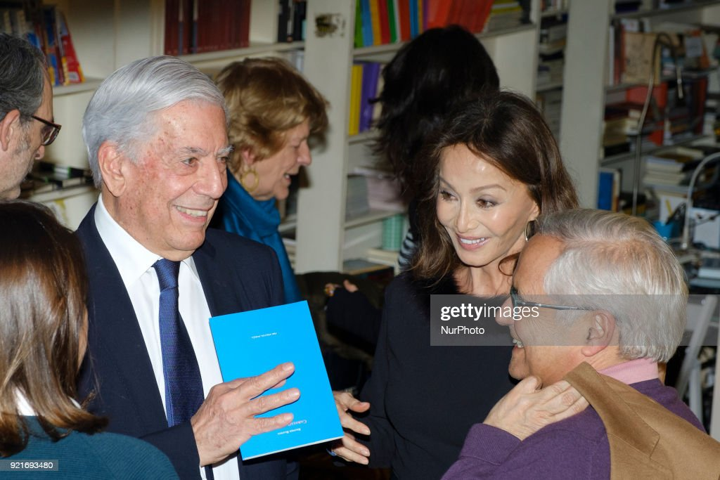 Peruvian writer Mario Vargas Llosa and his partner, Spanish socialite Isabel Preysler, during the presentaiton of the book 'Encounters with Mario Vargas Llosa' at the Rafael Alberti bookshop in Madrid, Spain, 20 February 2018.