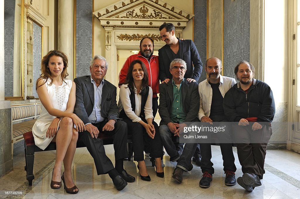 Peruvian writer Mario Vargas Llosa (2nd L, front row), stage director Joan Olle (3rd R, front row) and actors (L-R, 2nd row) Jorge Calvo, Asier Etxeandia, (L-R, front row) Irene Escolar, Aitana Sanchez Gijon, Rulo Pardo and Tomas Pozzi pose for a photo shoot after the press conference for 'La Chunga' play at Espanol Theatre on April 24, 2013 in Madrid, Spain.