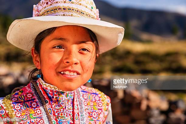 Peruvian young girl in national clothing, Chivay, Peru