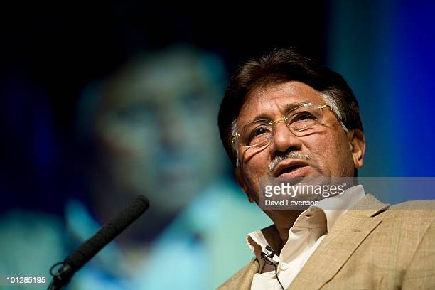 Pervez Musharraf , former President of Pakistan, discusses the volatility of the region, on stage at The Hay Festival on May 30, 2010 in Hay-on-Wye,...