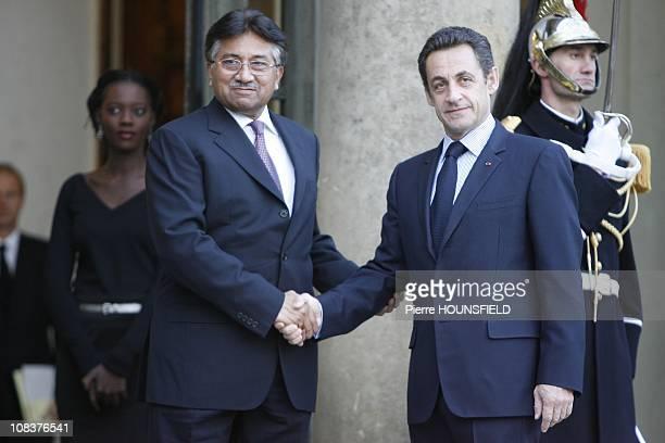 Pervez Musharraf Nicolas Sarkozy in Paris France on January 22nd 2008