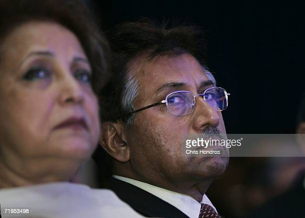 Pervez Musharraf President of the Islamic Republic of Pakistan and his wife Sehba Musharraf sit in the audience during the Clinton Global Initiative...
