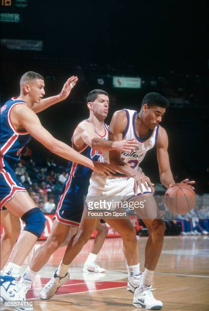 Pervis Ellison of the Washington Bullets in action against the New Jersey Nets during an NBA basketball game circa 1992 at the Capital Centre in...