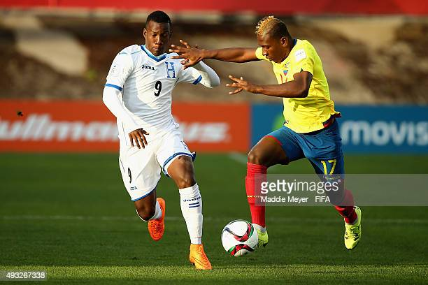 Pervis Estupinan of Ecuador and Darixon Vuelto of Honduras battle for control of the ball during the FIFA U17 Men's World Cup Chile 2015 group D...