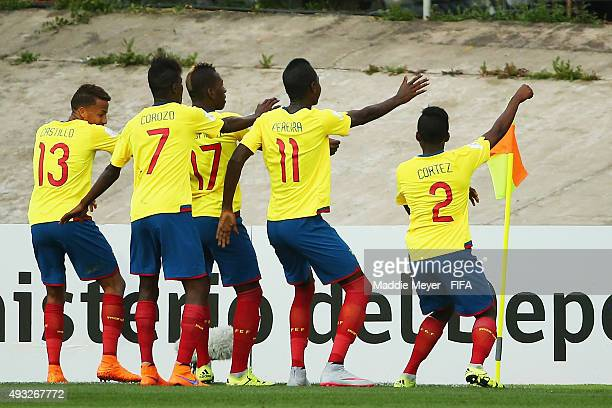 Pervis Estupinan of Ecuador celebrates with his teammates after scoring a goal during the FIFA U17 Men's World Cup Chile 2015 group D match between...