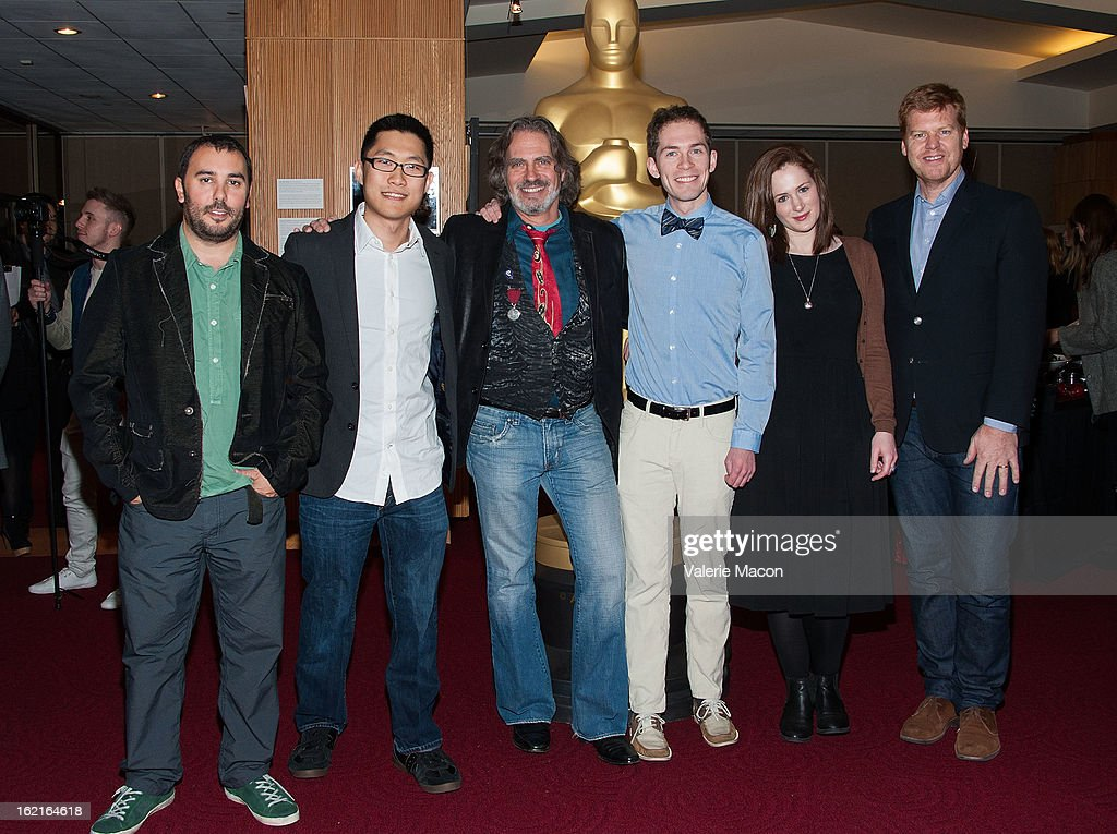 Pes, Minkyu Lee, David Silverman, Timothy Reckart, Fodhla Cronin O'Reilly and John Kahrs attends The Academy Of Motion Picture Arts And Sciences Presents Oscar Celebrates: Shorts at AMPAS Samuel Goldwyn Theater on February 19, 2013 in Beverly Hills, California.