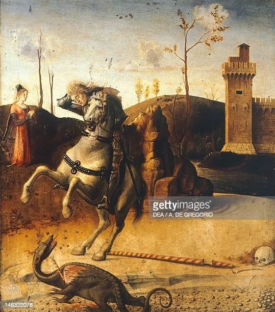 Pesaro Musei Civici Pinacoteca St George killing the dragon detail from the predella of the Pesaro Altarpiece ca 1475 by Giovanni Bellini oil on...
