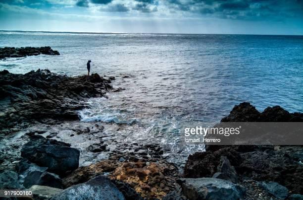 Pescador en Punta Jablillo (Lanzarote)