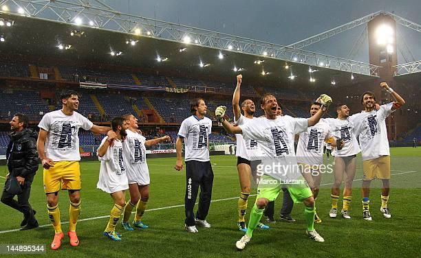 Pescara Calcio players celebrate their promotion to Serie A after the Serie B match between UC Sampdoria and Pescara Calcio at Luigi Ferraris Stadium...