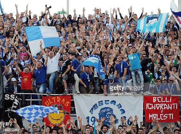 Pescara supporters show their support before the Serie B match between Pescara Calcio and ASG Nocerina at Adriatico Stadium on May 26, 2012 in...
