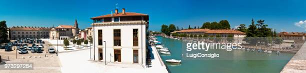 peschiera del garda (vr), italy, overview of the marina, the parade ground, the church of san martino and the military prison. - consiglio stock pictures, royalty-free photos & images