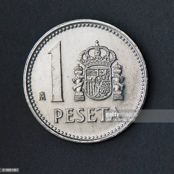 1 peseta coin reverse coat of arms Spain 20th century