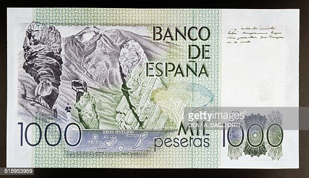 1000 pesetas banknote reverse rock formations of Canadas del Teide at Teide National Park Tenerife Canary Islands Spain 20th century