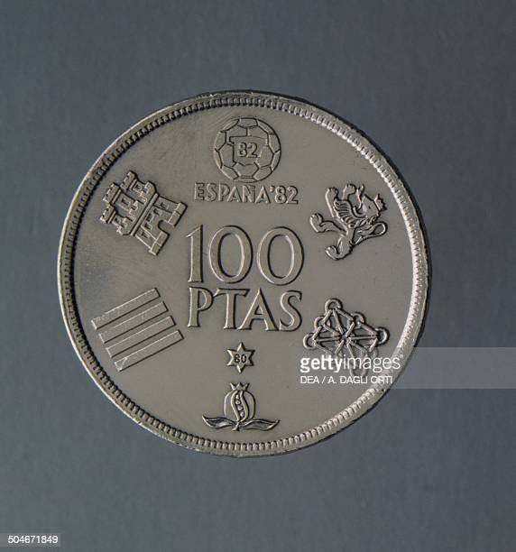 100 pesetas coin commemorating the 1982 World Cup Soccer in Spain issued in 1980 reverse Spain 20th century
