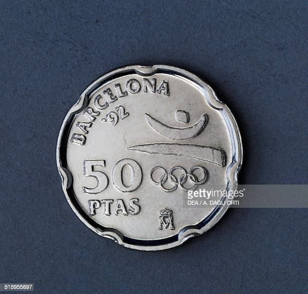 50 pesetas coin XXV Olympiad in Barcelona reverse Spain 20th century