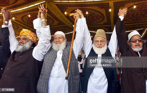 Pakistani leaders of hardline Muttahida MajliseAmal Qazi Hussain Ahmad and Maulana Fazlur Rehman and Egyptian parliament member Alsyed Abdul Maqsood...