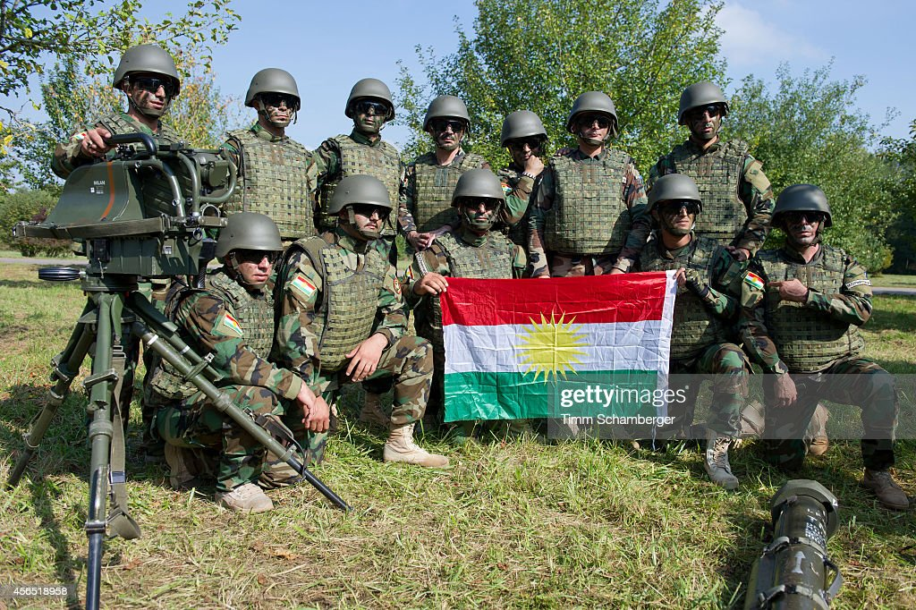 Peshmerga Fighters pose for a photo during training on October 02, 2014 in Hammelburg, Germany. A total of 32 peshmerga soldiers are at the base to train for one week in the use of the weapon before they return to northern Iraq. Germany has delivered to the peshmerga EUR 70 million worth of weaponry, including the Milan system, assault rifles, machine guns, pistols and other military hardware.