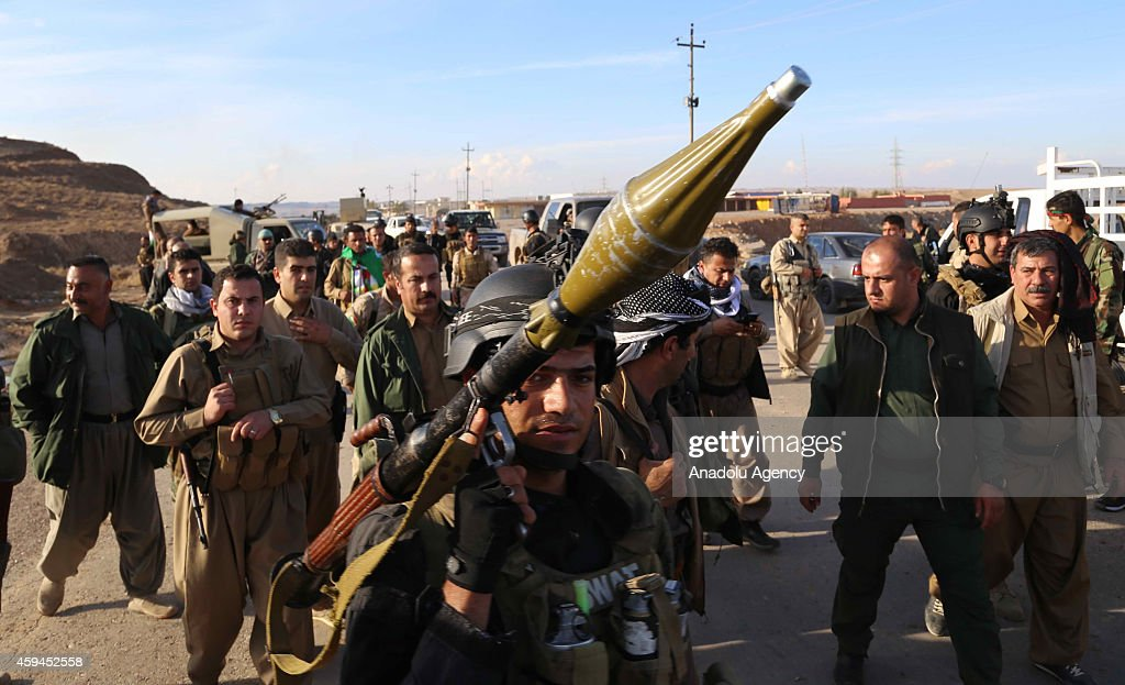 Peshmerga forces are seen near Jalawla town of Diyala Governorate during an operation carried out to take the town's control from the Islamic State of Iraq and the Levant (ISIL) in Iraq on November 23, 2014.