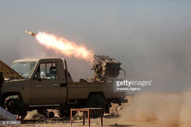 Peshmerga forces attack Deash targets in Bertela region with the Katyusha rocket launcher during an operation to retake Iraq's Mosul from Deash in...