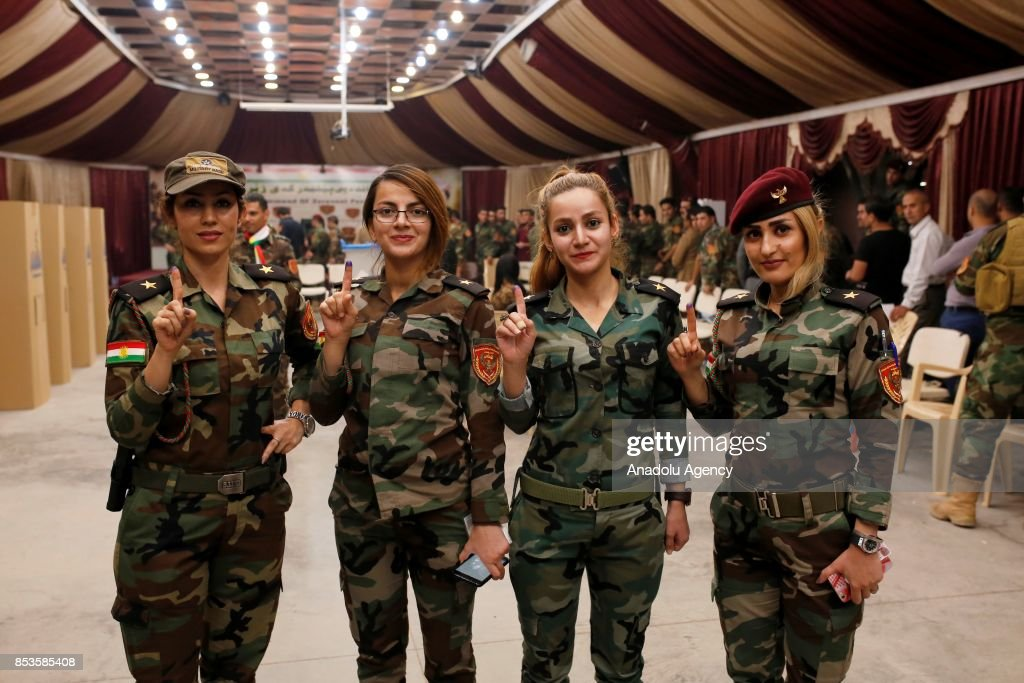 Peshmerga forces cast their ballots in the Kurdish Regional Government (KRG) controversial referendum at a military polling station in Rashkin village of Erbil, Iraq on September 25, 2017. The non-binding referendum is taking place in areas under the control of the Kurdish Regional Government (KRG) in northern Iraq. According to data released by the KRG Independent High Electoral Commission, over 5 million people are expected to vote in the referendum.