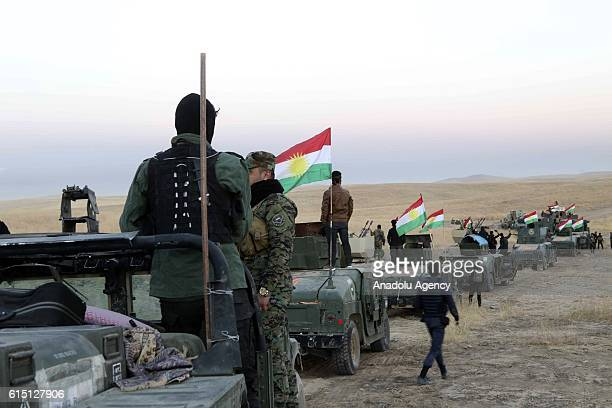Peshmerga forces dispatch tanks and armored vehicles to Rabia and Karbali villages of Mosul as they attack on Deash targets during an operation to...