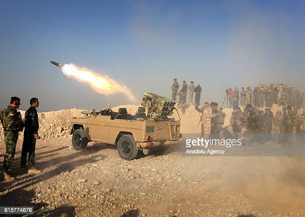 Peshmerga forces located in Duberdan village at Bashiqa front attack Daesh targets with the Katyusha rocket launchers during the operation to retake...