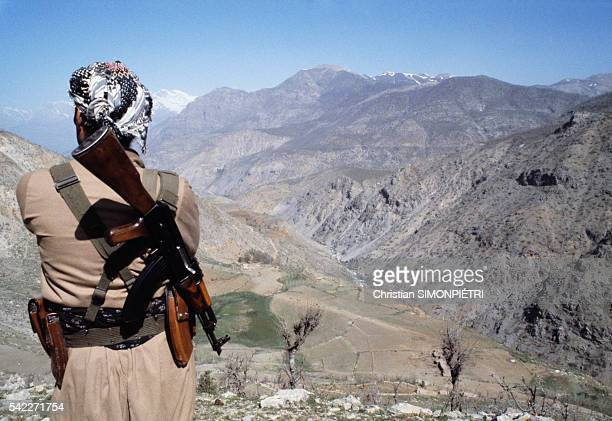 Peshmerga of the Patriotic Union of Kurdistan on guard duty in Iraq's Kurdistan mountains
