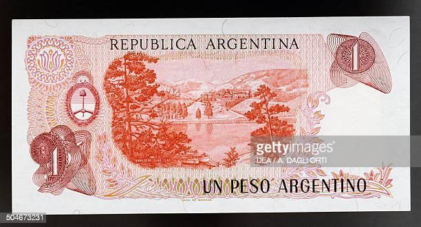 Peso banknote reverse, Llao Llao Hotel in Bariloche. Argentina, 20th century.
