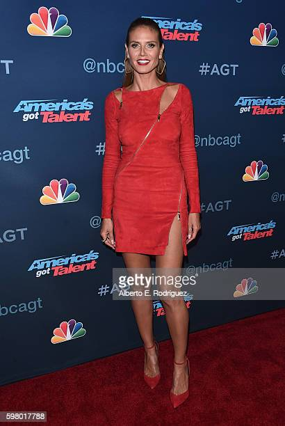 TV pesonality Heidi Klum attends the 'America's Got Talent' Season 11 Live Show at The Dolby Theatre on August 30 2016 in Hollywood California