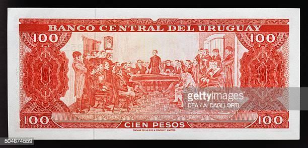 Pesos banknote, 1960-1969, reverse, Jose Gervasio Artigas speaking at the Independence meeting. Uruguay, 20th century.